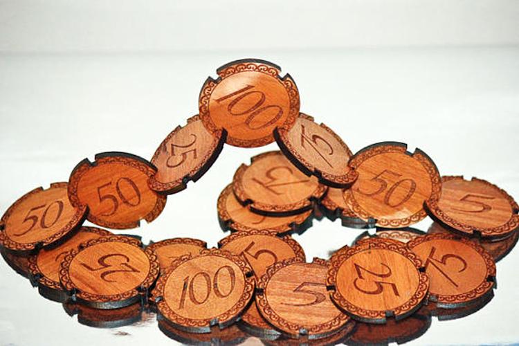 wooden poker chips